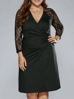Plus Size Sheer Sleeves Surplice Dress - Black 5xl
