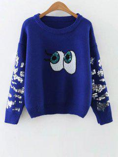 Eye Pattern Sequins Sweater - Blue