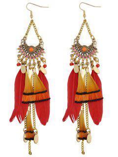 Fan Feather Tassel Earrings - Red