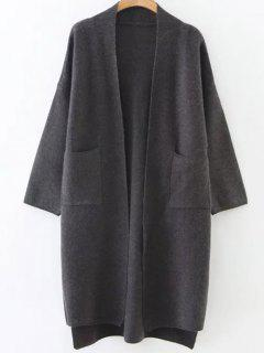 Collarless High Low Pockets Cardigan - Gray