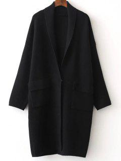 Back Slit Shawl Collar Knitted Cardigan - Black