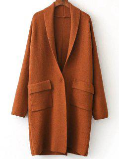 Back Slit Shawl Collar Knitted Cardigan - Brick-red
