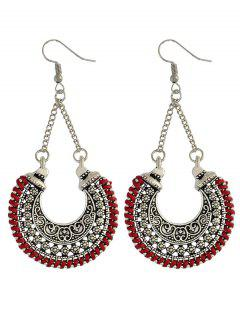 Crescent Carved Earrings - Red