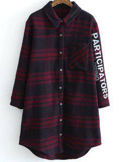 Letter Pattern Tartan Shirt - Plaid M