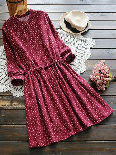 Drawstring Waist Tiny Floral Shirt Dress - Red