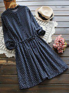 Robe Chemise à Fleurs Minuscules à Cordon De Serrage à Lombes - Bleu Foncé