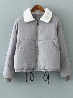 Drawstring Lamb Wool Collar Padded Coat - Gray S