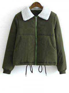 Drawstring Lamb Wool Collar Padded Coat - Army Green L