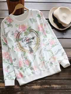Crew Neck Blossom Print Sweatshirt - White L
