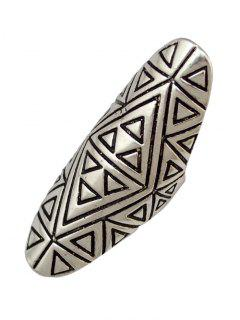 Triangle Carved Oval Finger Ring - Silver