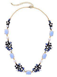 Vintage Floral Faux Gem Pearl Necklace - Blue