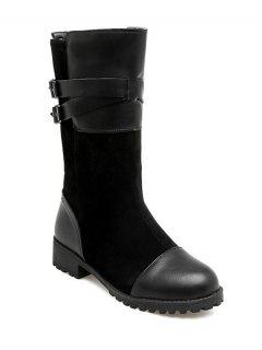 Cross Straps Double Buckle Mid-Calf Boots - Black 38