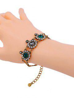 Vintage Rhinestone Flower Bracelet - Golden