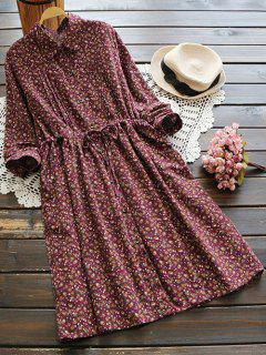 Tiny Floral Drawstring Shirt Dress - Wine Red