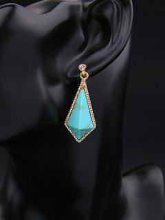 Boucles D'oreille En Calaïte Et Gemme Artificielle Géométriques  - Ral6016 Turquoise Vert
