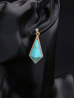 Geometric Vintage Rhinestone Drop Earrings - Turquoise Green