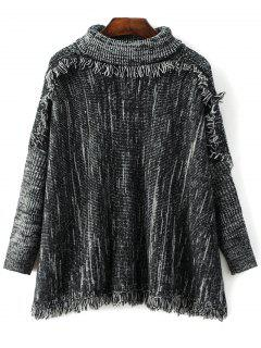 Space Dyed Turtle Neck Tassel Sweater - Black Grey