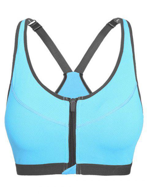 womens Push Up Front Zipper Sporty Bra - AZURE L Mobile