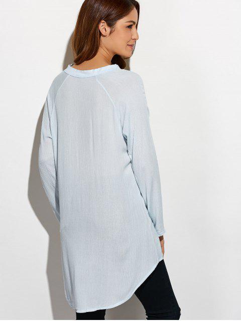 fashion Crinkly Three Quarter Sleeve Shirt Dress - PALE GREEN S Mobile