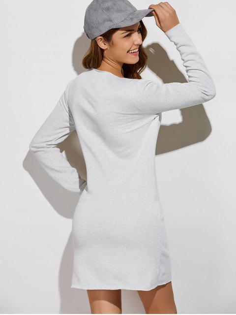 affordable Long Sleeve Drawstring Mini Sweatshirt Dress - GRAY XL Mobile