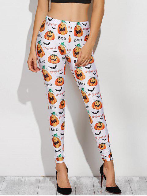 sale Printed Halloween Costume Leggings - WHITE 2XL Mobile