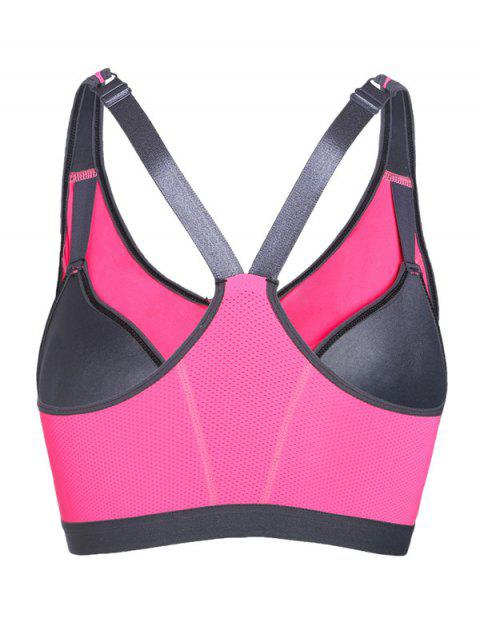 online Push Up Front Zipper Sporty Bra - ROSE RED L Mobile