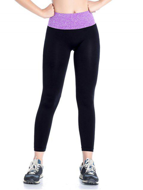 women Stretchy Yoga Leggings - PURPLE S Mobile