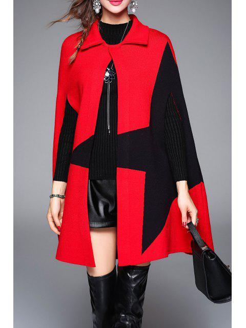Coat Color Block Étoffes Cap - Rouge Taille Unique Mobile