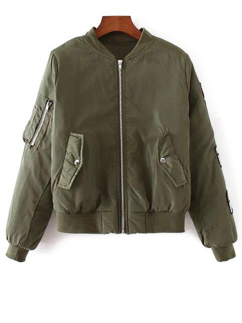 unique Rhinestoned Patched Jacket - ARMY GREEN L Mobile