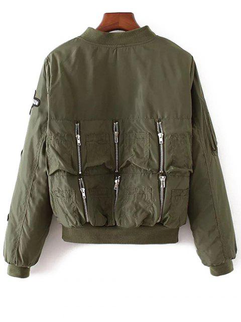 affordable Rhinestoned Patched Jacket - ARMY GREEN S Mobile