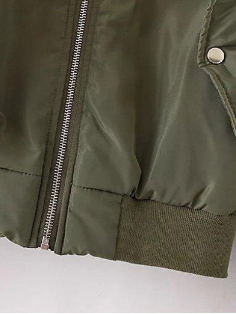 women Rhinestoned Patched Jacket - PURPLISH BLUE S Mobile