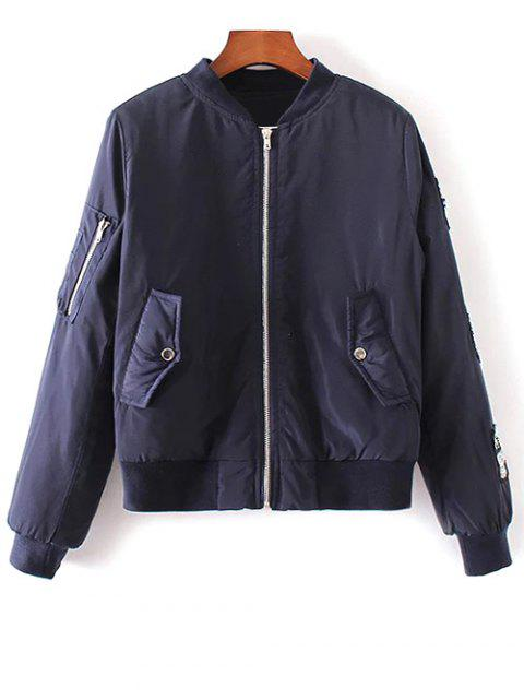womens Rhinestoned Patched Jacket - PURPLISH BLUE M Mobile
