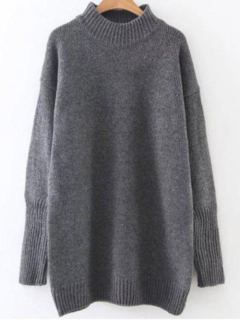 outfits Long High Neck Sweater - DEEP GRAY ONE SIZE Mobile