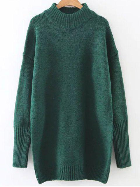 shops Long High Neck Sweater - GREEN ONE SIZE Mobile