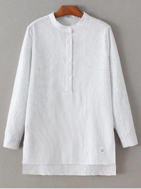 chic Slit Stripe High-Low Shirt - WHITE S Mobile
