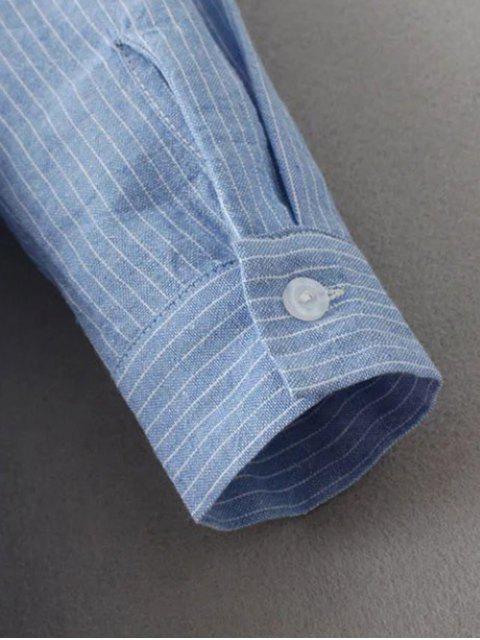 affordable Slit Stripe High-Low Shirt - BLUE L Mobile
