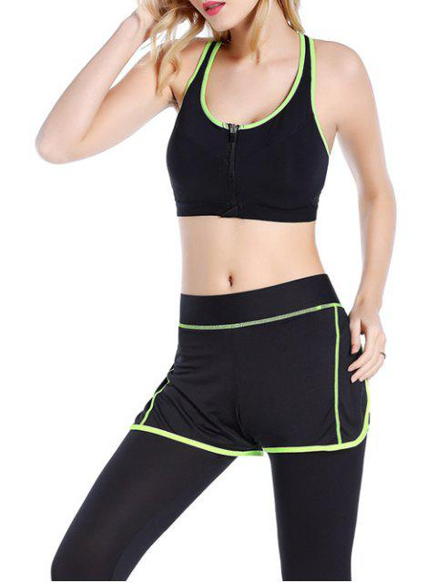 buy Push Up Front Zipper Sporty Bra - BLACK S Mobile