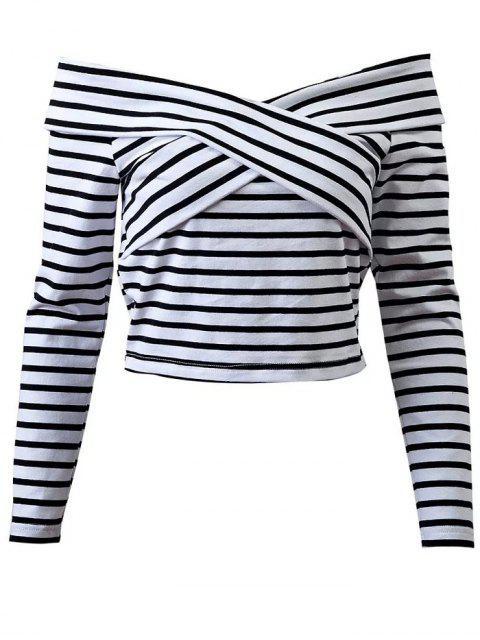 fancy Striped Off Shoulder Front Criss T-Shirt - WHITE L Mobile