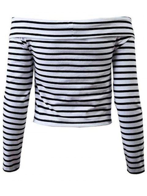 sale Striped Off Shoulder Front Criss T-Shirt - WHITE S Mobile
