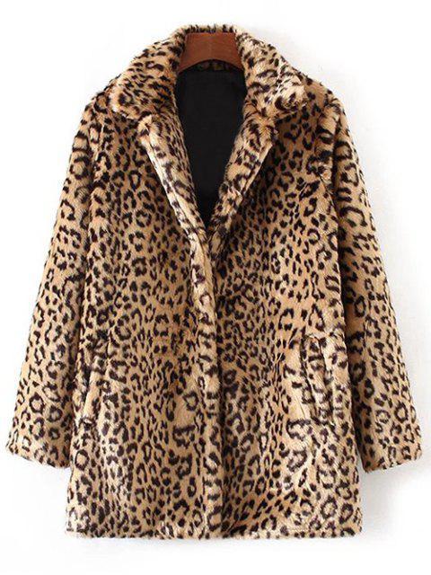 trendy Leopard Faux Fur Coat - LEOPARD M Mobile