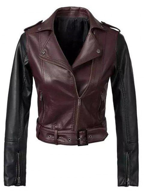 trendy Color Block PU Leather Zippered Biker Jacket - WINE RED L Mobile