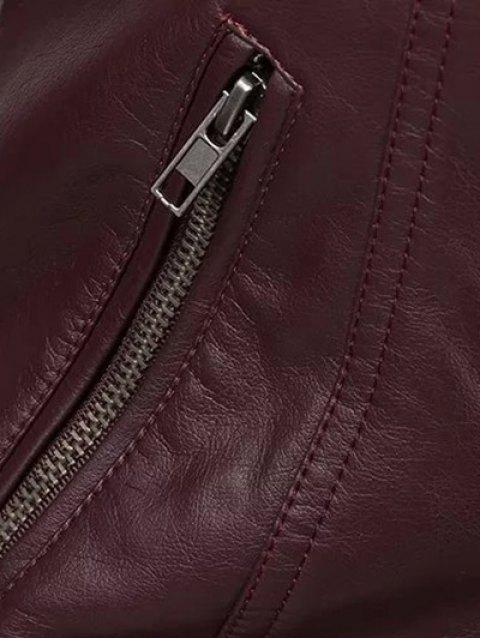 chic Color Block PU Leather Zippered Biker Jacket - WINE RED S Mobile
