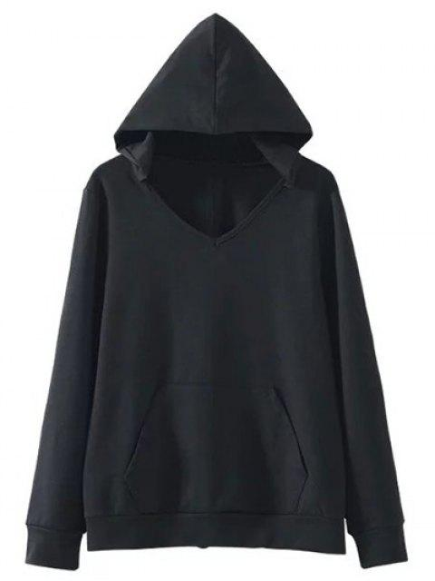 womens Back Lace Up V Neck Hoodie - BLACK M Mobile