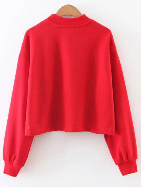 outfits Mock Neck Graphic Cropped Sweatshirt - RED L Mobile