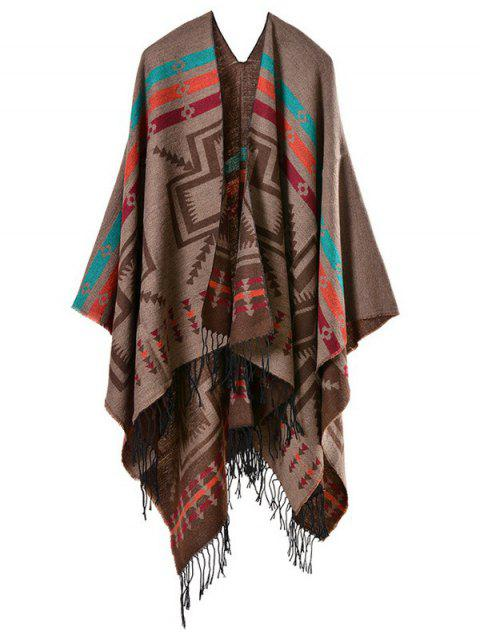 hot Geometry Open Front Tassel Pashmina Scarf - COFFEE  Mobile