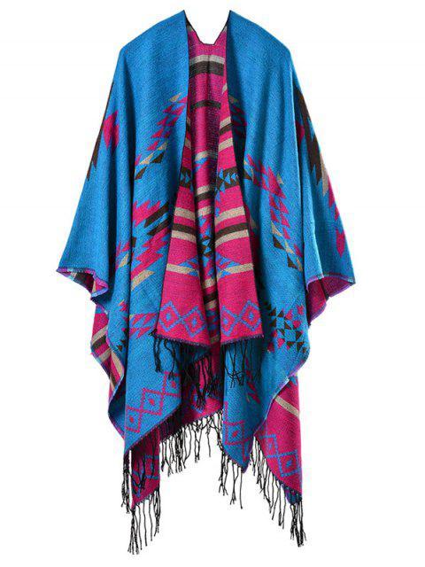 sale Travel Warmer Geometry Tassel Pashmina Poncho - BLUE  Mobile