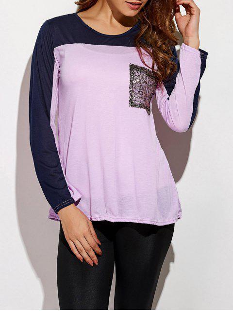 T-shirt color block avec motif pailleté - Violet Clair M Mobile