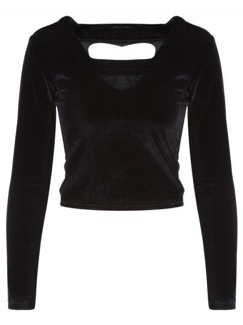 affordable Cut Out Pleuche T-Shirt - BLACK ONE SIZE Mobile