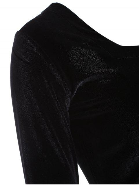affordable Cut Out Pleuche T-Shirt - BLACK ONE SIZE Mobile
