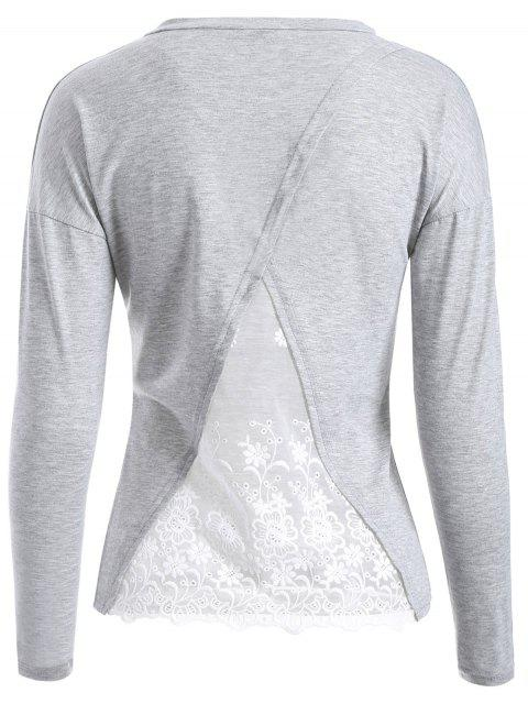 affordable Back Lace Spliced T-Shirt - LIGHT GRAY M Mobile